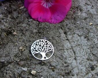 Engraving X 1 round filigree silver metal 20 mm