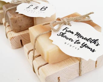 40 Custom Soap Favors w/ Dish - Gift for Wedding, Bridal Showers, Corporate Event, Party, Client, Guest, Hostess, Baby Shower, airbnb, hotel