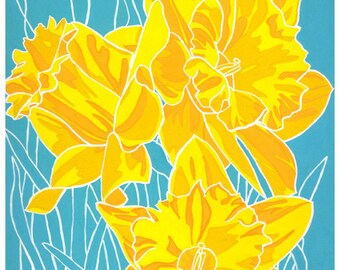 March Daffodils: Flower print 8x10