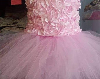 Pink rosette flower girl dress