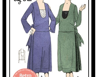 1920s Day Dress Sewing Pattern - PDF Full Size Sewing Pattern - Instant Download