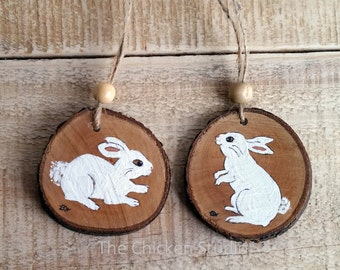 Easter Decor, Bunny Ornaments, Set of 2, Easter ornaments, wood slice, rabbit, Easter bunny