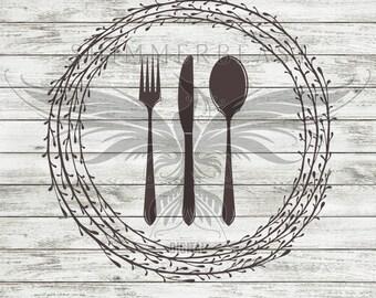 Kitchen SVG Cut File   Silverware Wreath svg   Kitchen Svg   Kitchen sign SVG   Cutting Board svg   Kitchen svg design   Cooking svg