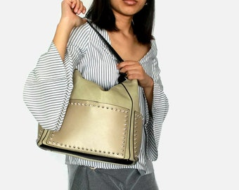 vegan leather tote bag with pockets , Tote bag with zipper , Golden faux leather tote , Large shoulder bag , Laptop tote bag