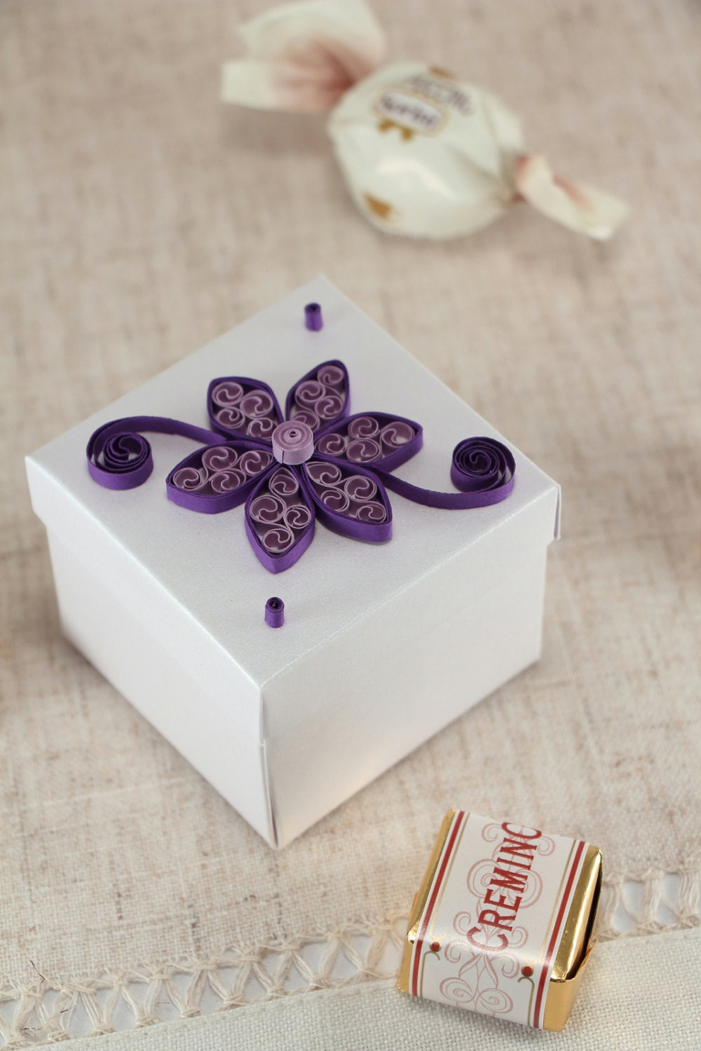 10 Wedding Candy Boxes, Purple Bridal Shower Favor Boxes - Small ...