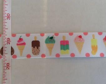"Popsicles Ice Cream Cones Summer inspired grosgrain ribbon 1"""