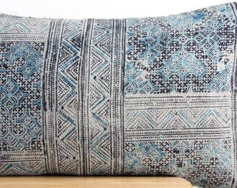 VINTAGE Hmong Pillow Hand Woven HEMP Organic HMONG Ethnic A Piece Of Tribal Textile indigo navy blue batik