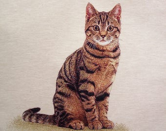 Fabric Panel tapestry (cushion, bag) CAT Tiger ROUX coupon