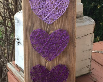 MADE TO ORDER Triple Hearts String Art Sign