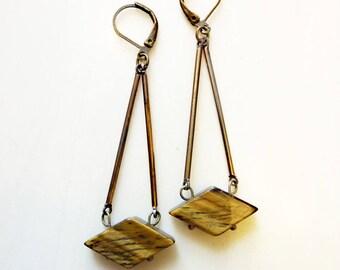 Tiger Eye Diamond Earrings, Vintage Brass Stick Earrings, Geometric Gemstone, Power Balancing