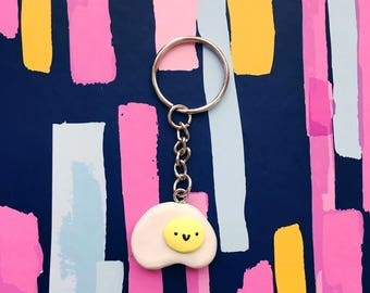 Handmade Egg Pin Button Pinback Polymer Clay Keychain Magnet sunny side up brunch