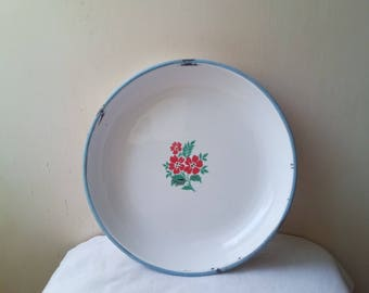 Kitchenalia - vintage white enamel plate with red flowers blue margin- enamelware