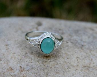 Blue Chalcedony Ring,Aqua Chalcedony Ring,Chalcedony Ring,Gemstone Ring,Handmade Sterling Silver Ring,Gift For,Blue Chalcedony Gemstone Ring