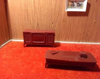 Marx Half Inch Scale Television and Coffee Table