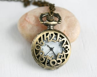 Pocket Watch Necklace, Clock Necklace (10 styles to choose)