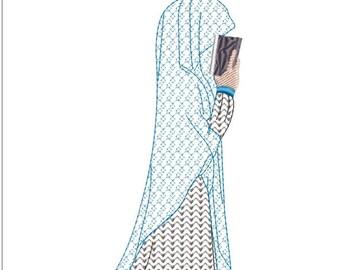 Muslim girl machine embroidery download (3x5)