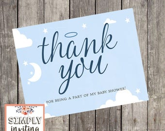 Heaven Sent Navy Baby Shower Thank You Cards, Printed Cards, Baby Boy Shower Note Cards, Halo Thank You Cards, Blue Note Cards, Stationery