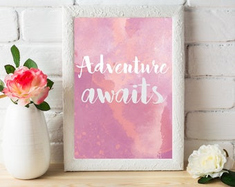 Adventure Awaits, Travel Printable, Travel Digital Download, Travel Gift, Travel Decor, Adventure Print, Travel Print, Explore, Gift