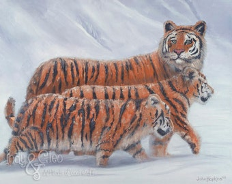 Tiger Art Print, Tiger Mother and Cubs, Big Cats Art, Wildlife Wall Art, Animal Home Decor, Tiger Nursery Art, Winter Snowscape, Snow Scene