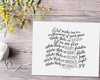prayer of st. francis hand lettered print // christian art print