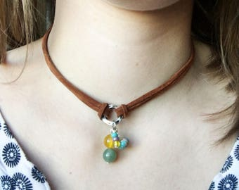 Serpentine Jasper And Agate Choker /  Gemstones / Leather / Beaded / Turquoise / Agate Necklace / Bohemian Jewelry / Graduation Gift /Yellow