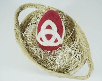 Easter Egg - Needle Felted Wool Egg - Cranberry Red - Celtic Knot - Easter Gift - Needlefelt Egg - Easter Decoration - Felt Easter