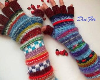 Women Size L 20% OFF Ready To Ship Gloves Mittens Wrist Warmers Winter Hand Knitted Arm Crochet Half Fingers Multicolor Cabled Striped 66
