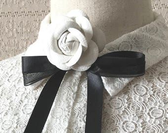 Timeless style collar necklace, Runway neck tie for women, white floral necklace, Secretary blouse, Ascot bow, free shipping, gift for her