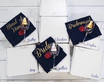Maid of Honor and Bridesmaid Gifts. Personalized with name and title. Bridesmaid gift vnecks, wine glass. Wedding party proposal box. Custom