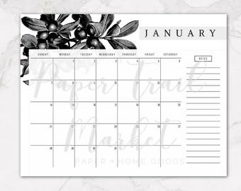 Vintage Botanical 2018 Printable Wall Calendar, Vintage Black and White Botanical Calendar, Floral Calendar