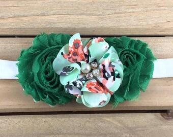 Green Baby Headband, Green Headband, Three flower headband, Green shabby headband, Green Floral headband, Baby Girl Headband, Baby Headband