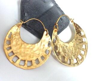 Tribal Gold Hoops, Gold Hoop Earrings, Goldplated Silver Earrings, Round Handmade Hoops, Crescent Hoops, Round Earrings