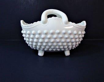 Vintage FENTON HOBNAIL BASKET Milkglass Footed Double Handle Candy Dish Milk Glass Vase