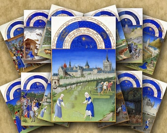 Digital Set MEDIEVAL BOOK of HOURS - 12 monthly images on two Printable collage sheets for Tags Cards Paper Crafts...calendar