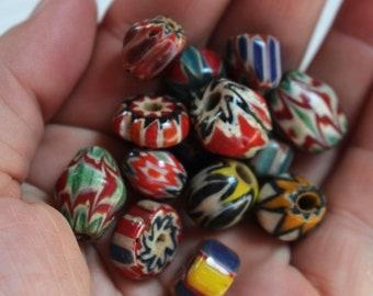 Vintage look glass chevron beads