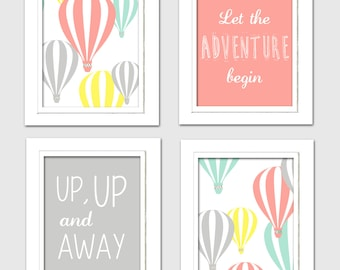 Hot Air Balloon Nursery, Oh the places you will go, Coral and gray nursery, set of 4 8X10, Choose your colors