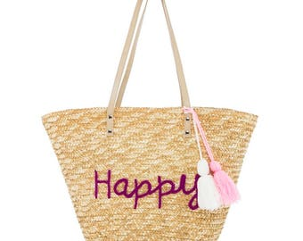 Happy Embroidered Straw and Tassel Beach Tote Bag, Straw Bag, Pink Tassel Detailed Beach Bag, Summer Bag, Boho Accessories, Summer Tote