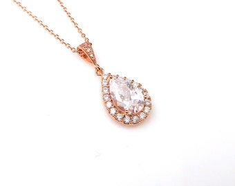 wedding necklace bridal necklace bridesmaid gift prom teardrop clear white AAA cubic zirconia setting rose pink gold pendant chain necklace