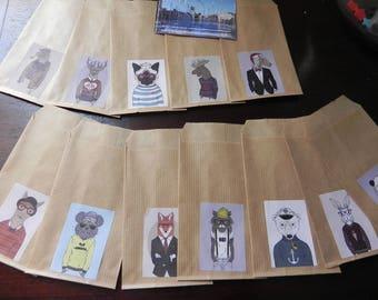 12 Kraft envelopes animal COSTUMES kraft colored 7 x 12 cm