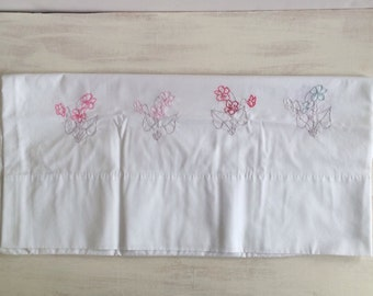 White Pillowcase With Embroidered Flowers