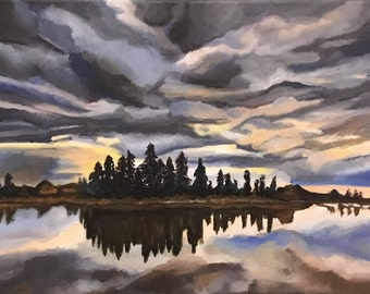 "Lake Sunset Landscape Painting / Acrylic on Canvas 12"" x 16"" / Cloudy Sunset Painting / Dusky Sky Painting"
