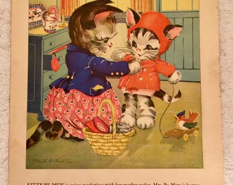 1930s Ruth E. Newton Original Print or Page from a Children's Book Puppies and Kittens