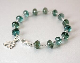 Silver Teal Quartz Bracelet - Clover Charm Bracelet