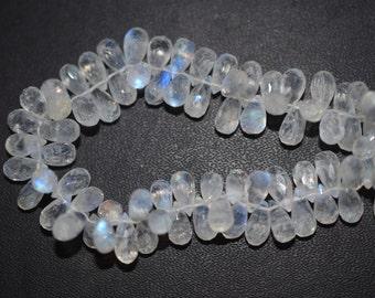 Beautiful White Rainbow Moonstone Tear Drop Faceted Briolette ,Rainbow Moonstone Faceted Briolette , 5x8-5x10 mm - MC273