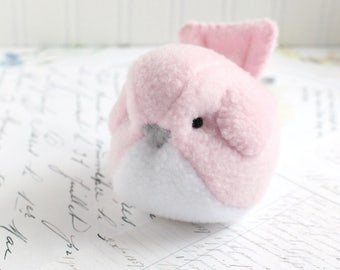 Kids Light Pink Bird Stuffed Animal Childrens Handmade Plush Toy