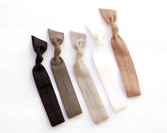 Driftwood - 5 Comfort Elastic Hair Ties / Bands / Bracelets