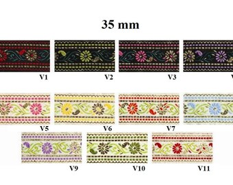 to order! 10 m wide jacquard embroideries flower width 35 mm
