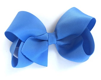 4 inch carolina blue hair bow - blue bow, 4 inch bows, boutique bows, girls hair bows, toddler bows, hair clips, hair bows, blue bows, bows