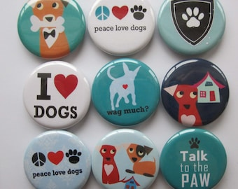 set of 9 dog mini 1 inch or 1.25 inch button magnets you choose the size