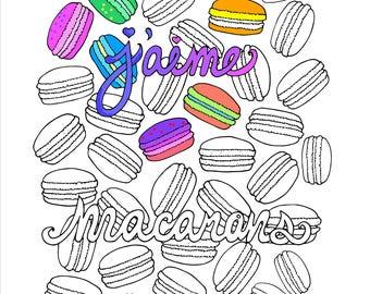 Printable J'aime Macarons Coloring Page